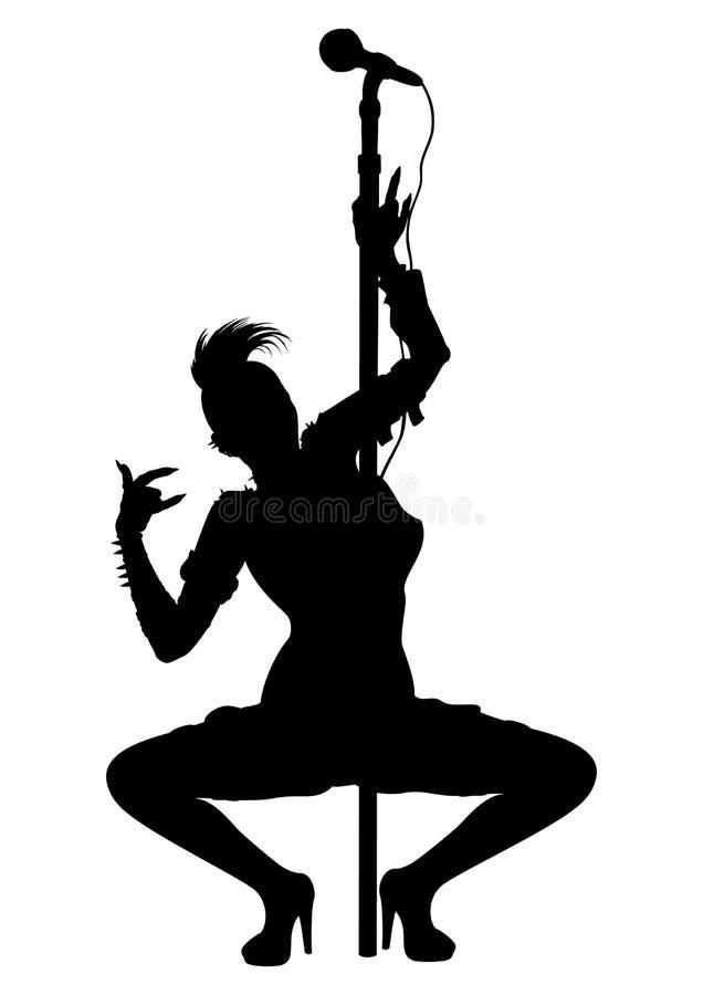 Siluetta punk di striptease della ragazza del musicista illustrazione di stock