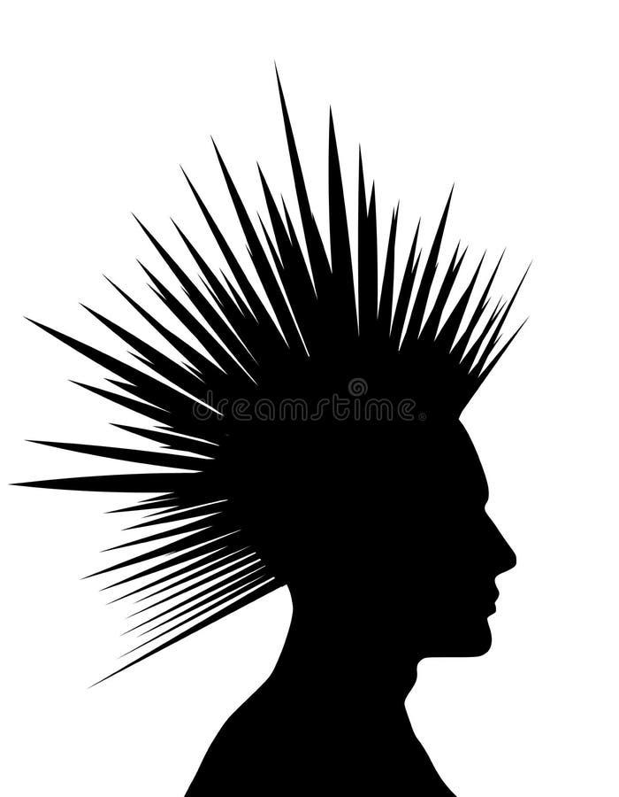 Siluetta punk nera del Mohawk illustrazione vettoriale