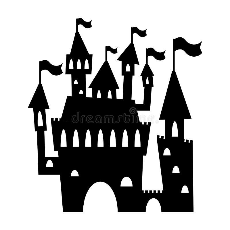 Siluetta romantica del nero del castello Illustrazione di vettore del palazzo di fiaba su fondo bianco Siluetta del castello illustrazione vettoriale