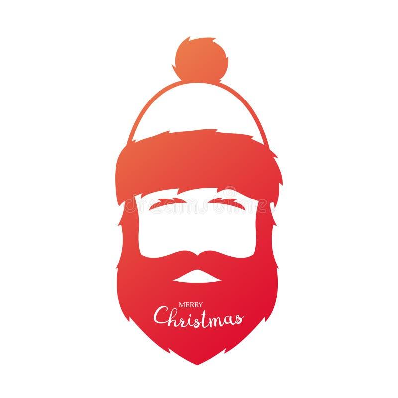 Siluetta rossa di Santa Claus su un fondo bianco illustrazione di stock