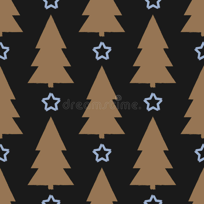 Siluetta ruvida dell'albero ed il profilo della stella Reticolo senza giunte di natale illustrazione vettoriale
