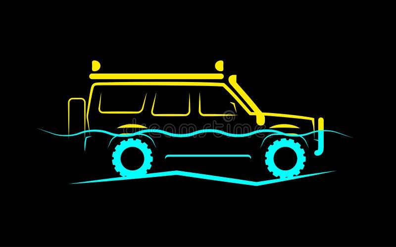 Siluetta semplice di un'automobile fuori strada sulla metà in acqua illustrazione vettoriale
