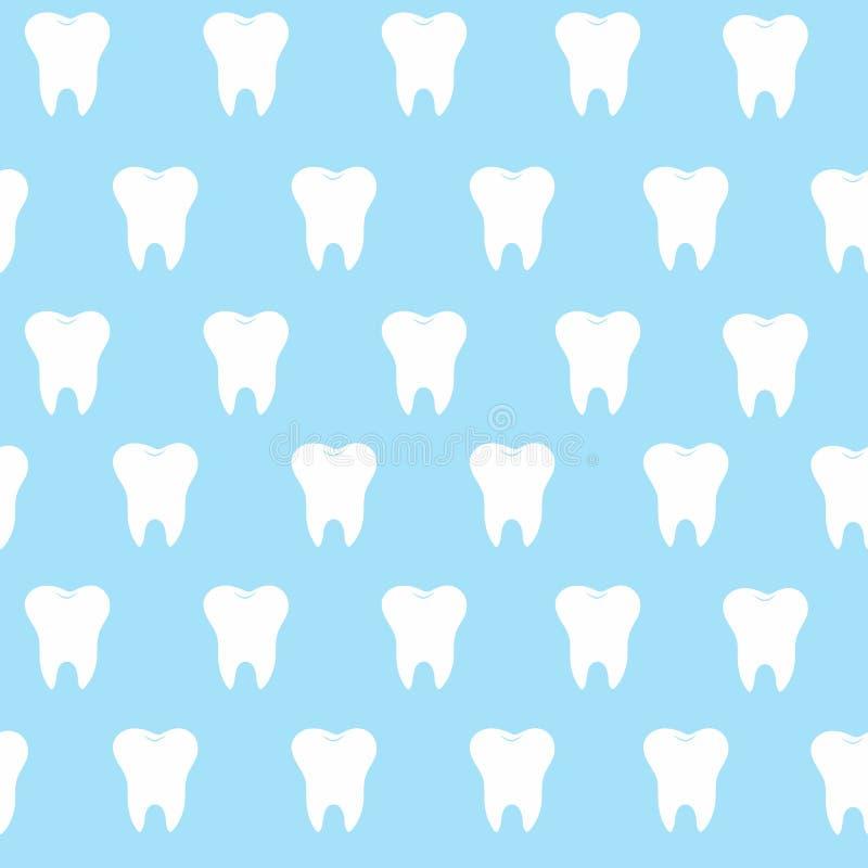 Siluetta semplice su un fondo blu, denti, icona dell'illustrazione, primo dente del hite del modello del dente del fumetto di log illustrazione di stock