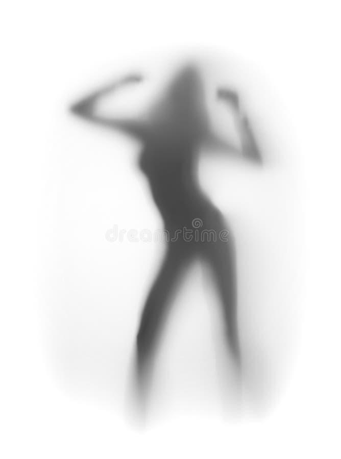 Siluetta sexy della donna, ballo immagine stock
