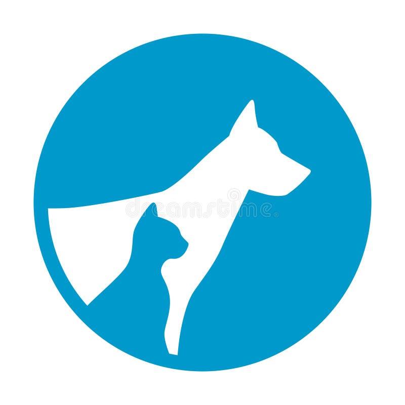 Siluetta sicura del ritratto degli animali del gatto del cane di animale domestico del segno della guardia illustrazione vettoriale