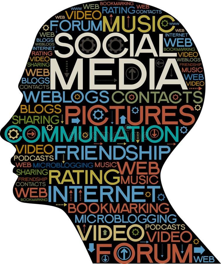 Siluetta sociale di media della testa con le parole illustrazione vettoriale