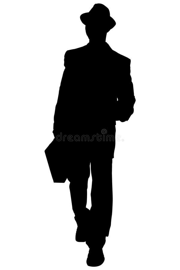 Siluetta sopra bianco con il percorso di residuo della potatura meccanica di camminare dell'uomo royalty illustrazione gratis