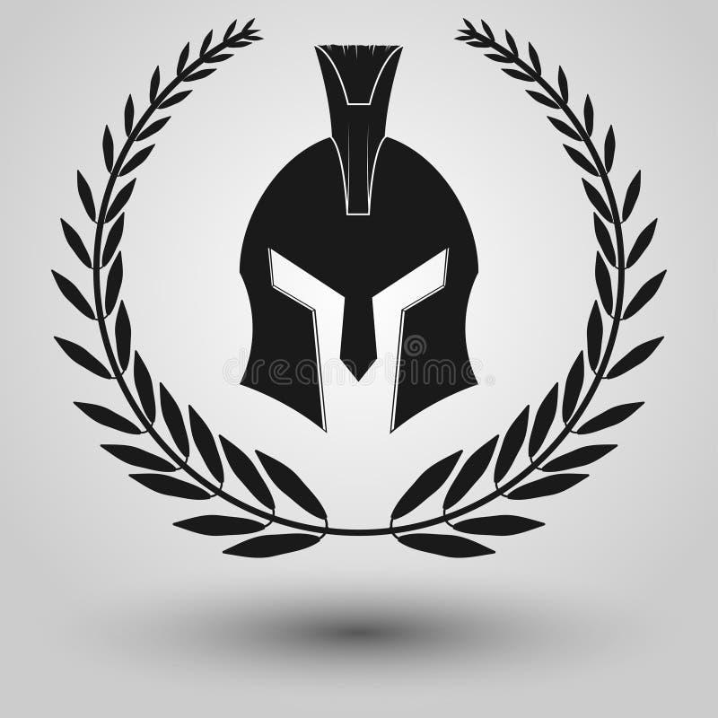 Siluetta spartana del casco illustrazione di stock