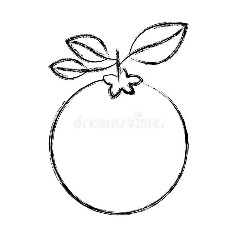 Siluetta spessa vaga di frutta arancio con il gambo e le foglie royalty illustrazione gratis
