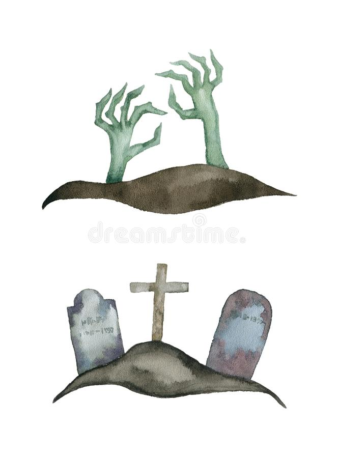 Siluetta spettrale delle mani e delle tombe del mostro royalty illustrazione gratis