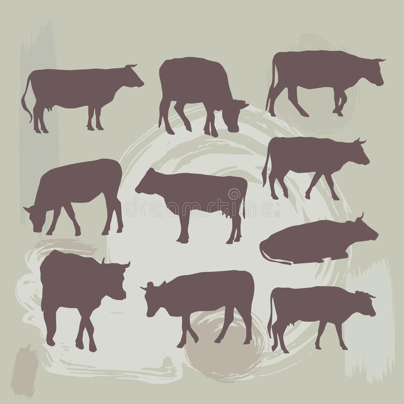 Siluetta stabilita della mucca sul fondo di lerciume Vettore illustrazione di stock