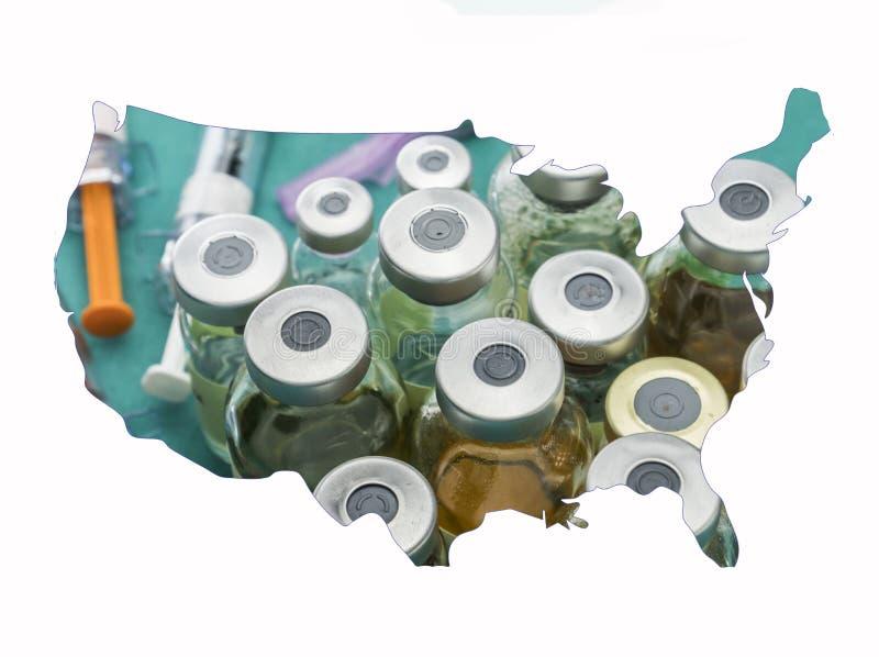 Siluetta Stati Uniti della mappa in bianco, farmaco e fiale immagini stock