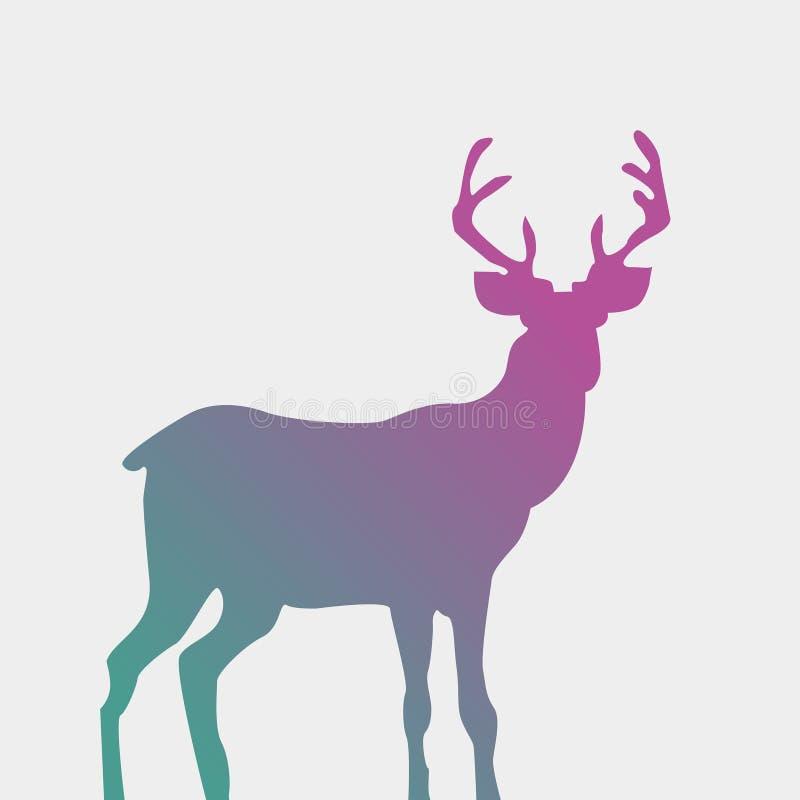 siluetta stile acquerello dei cervi isolata su bianco Dee diritto royalty illustrazione gratis
