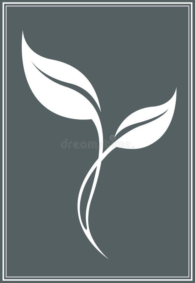 Siluetta stilizzata bianca della foglia di tè di vettore isolata royalty illustrazione gratis