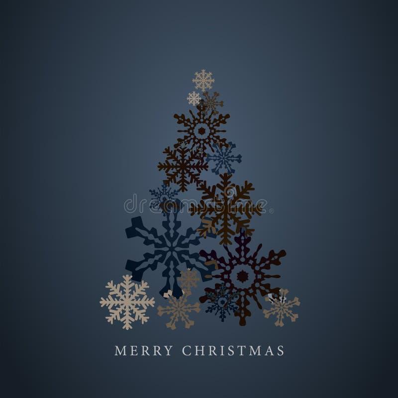 Siluetta stilizzata dell'albero di Natale dei fiocchi di neve Cartolina d'auguri del buon anno 2015 Vettore royalty illustrazione gratis