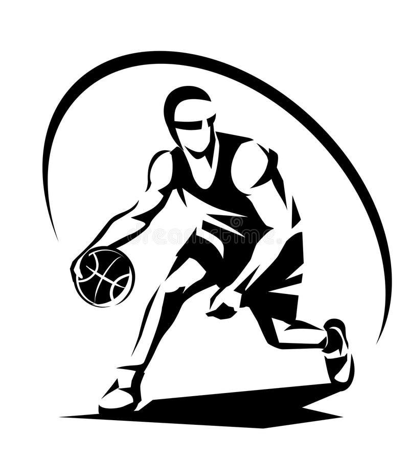 Siluetta stilizzata di vettore del giocatore di pallacanestro illustrazione vettoriale