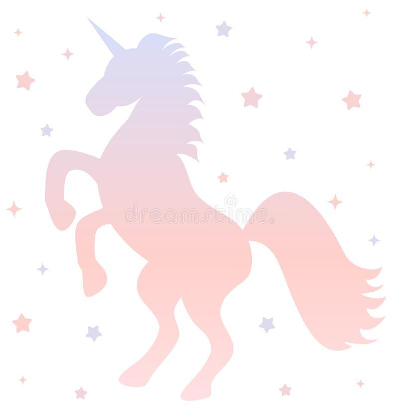 Siluetta sveglia dell'unicorno di pendenza con le stelle sull'illustrazione bianca del fondo illustrazione di stock