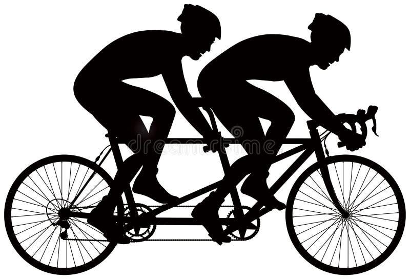 Siluetta in tandem di vettore del corridore della bicicletta royalty illustrazione gratis