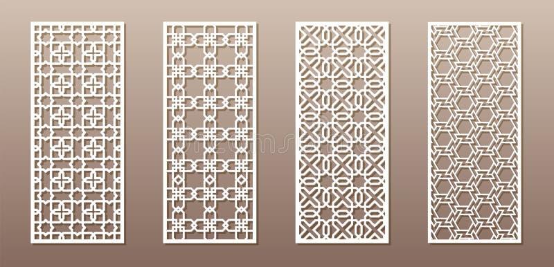 Siluetta trasparente con il modello arabo, modello geometrico del girih musulmano Disegno adatto a fondo, invito illustrazione di stock