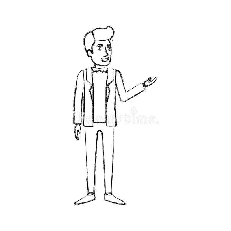 Siluetta vaga dell'uomo che sta nei vestiti e nell'acconciatura convenzionali del Pompadour illustrazione vettoriale