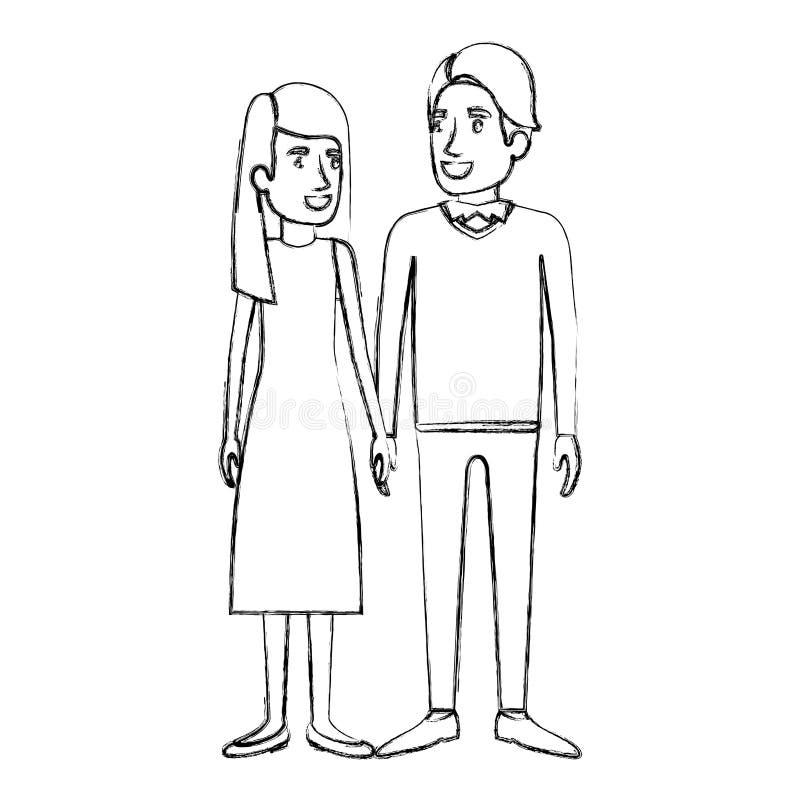 Siluetta vaga della condizione della donna e dell'uomo e lei con capelli lunghi diritti e lui in vestiti e nel lato convenzionali illustrazione vettoriale