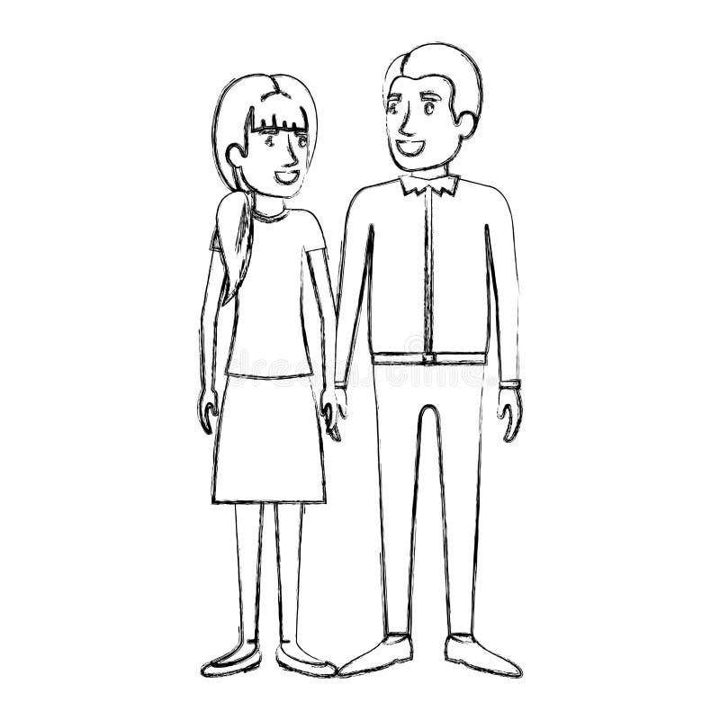 Siluetta vaga della condizione della donna e dell'uomo e lei con la coda di cavallo e lui in abbigliamento casual ed in entrambi royalty illustrazione gratis