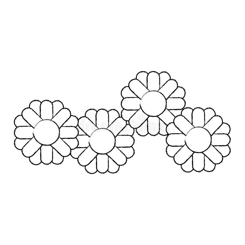 Siluetta vaga monocromatica con il modello astratto del girasole in primo piano royalty illustrazione gratis