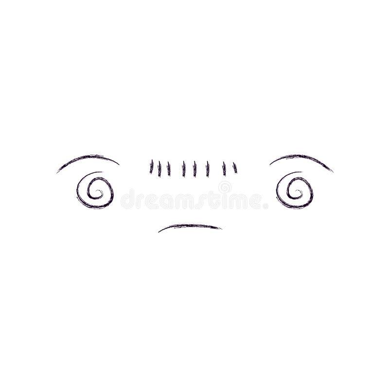 Siluetta vaga monocromatica del kawaii annoiato di espressione facciale illustrazione di stock