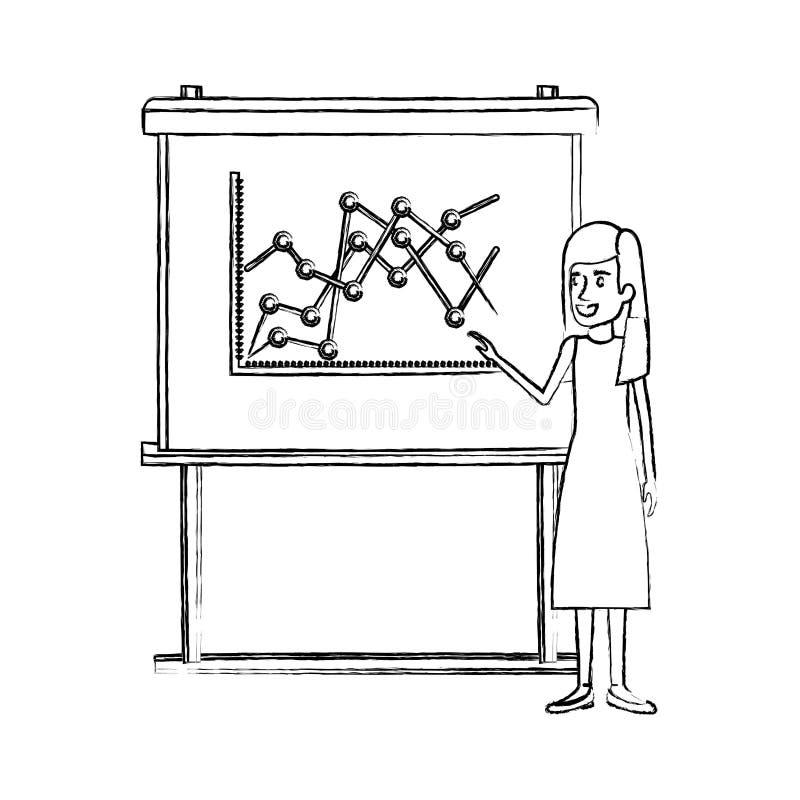 Siluetta vaga monocromatica della donna di affari in vestito con capelli diritti e lunghi che fanno presentazione illustrazione di stock