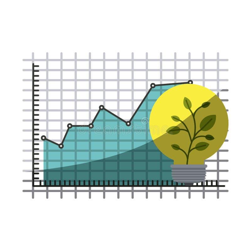 Siluetta variopinta del grafico di rischio finanziario e di crescita con mezza ombra illustrazione di stock