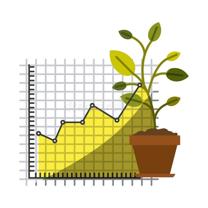 Siluetta variopinta di crescita e del grafico e della pianta di rischio finanziario in primo piano con mezza ombra illustrazione di stock