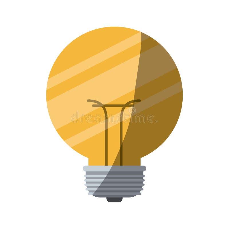 Siluetta variopinta di piccola lampadina con mezza ombra illustrazione di stock