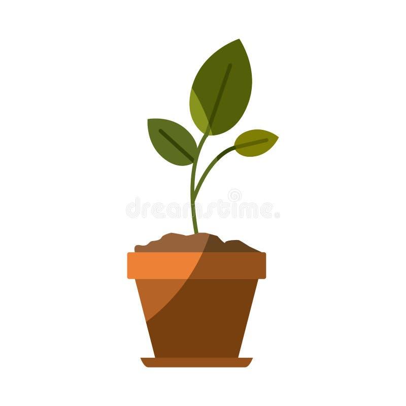 Siluetta variopinta di piccola pianta in vaso di fiore con mezza ombra illustrazione di stock