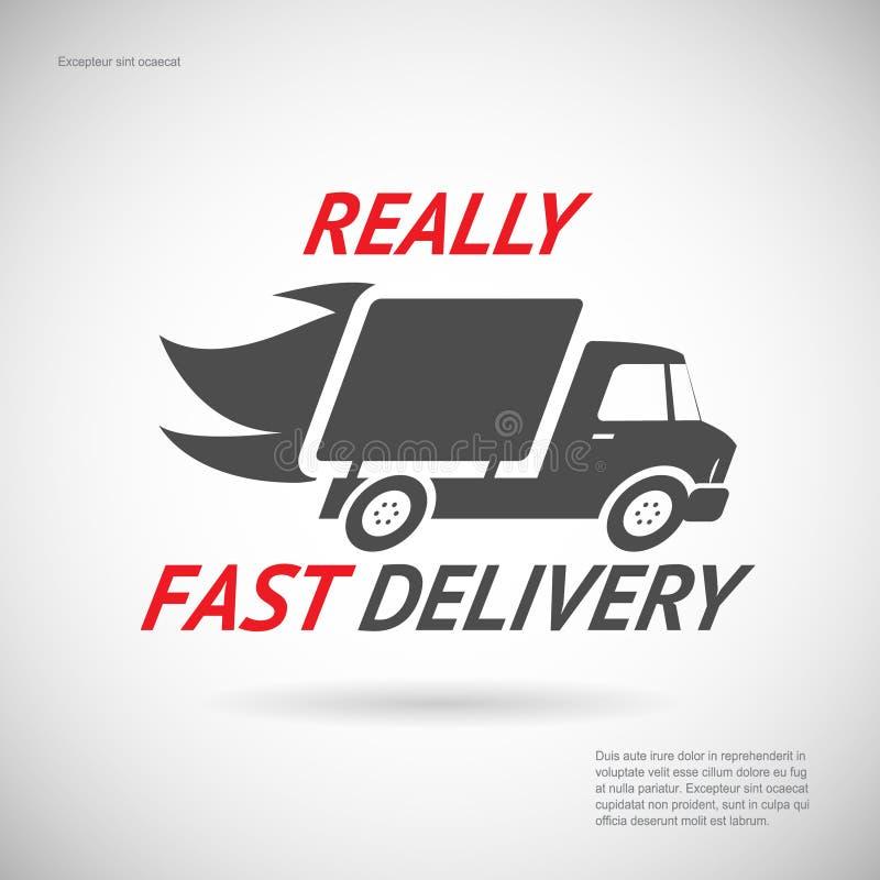 Siluetta veloce del camion di trasporto di simbolo di consegna royalty illustrazione gratis