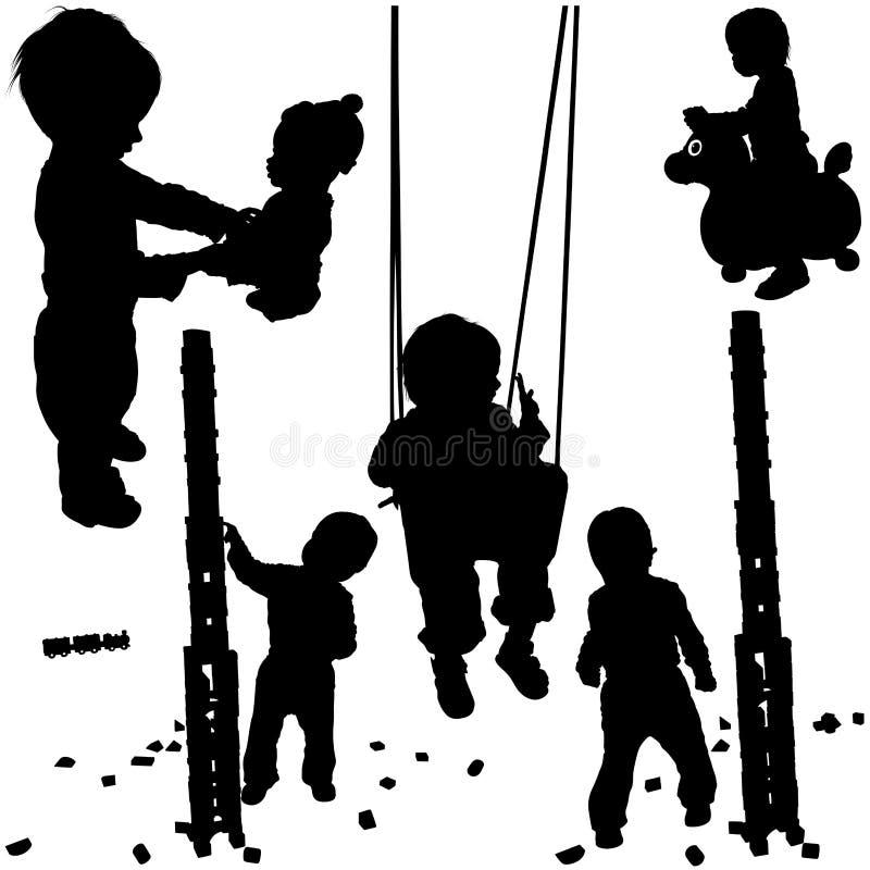 Siluette 01 dei bambini illustrazione vettoriale
