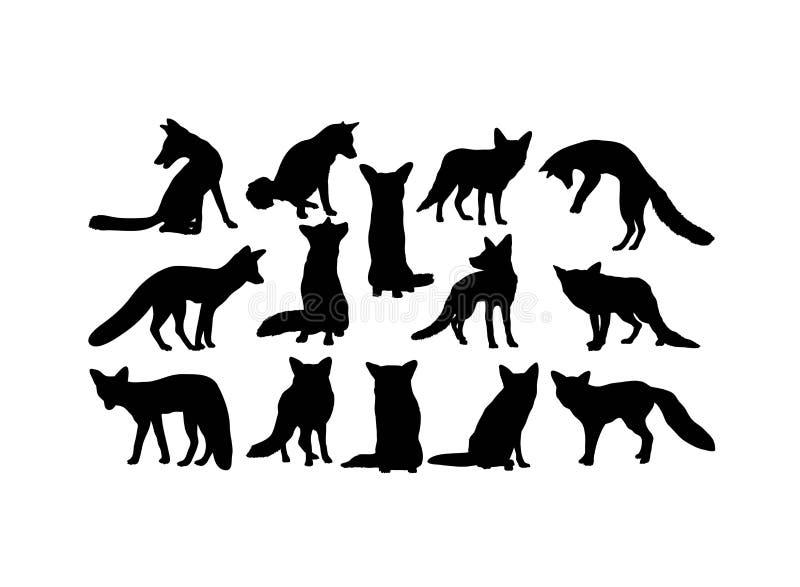 Siluette animali di Fox, progettazione di vettore di arte illustrazione di stock