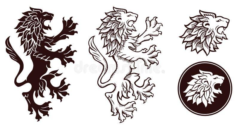 Siluette araldiche del leone royalty illustrazione gratis
