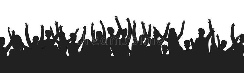 Siluette ballanti della folla della gente Contorno dell'ombra della fase di manifestazione del partito di ballo del pubblico di c royalty illustrazione gratis