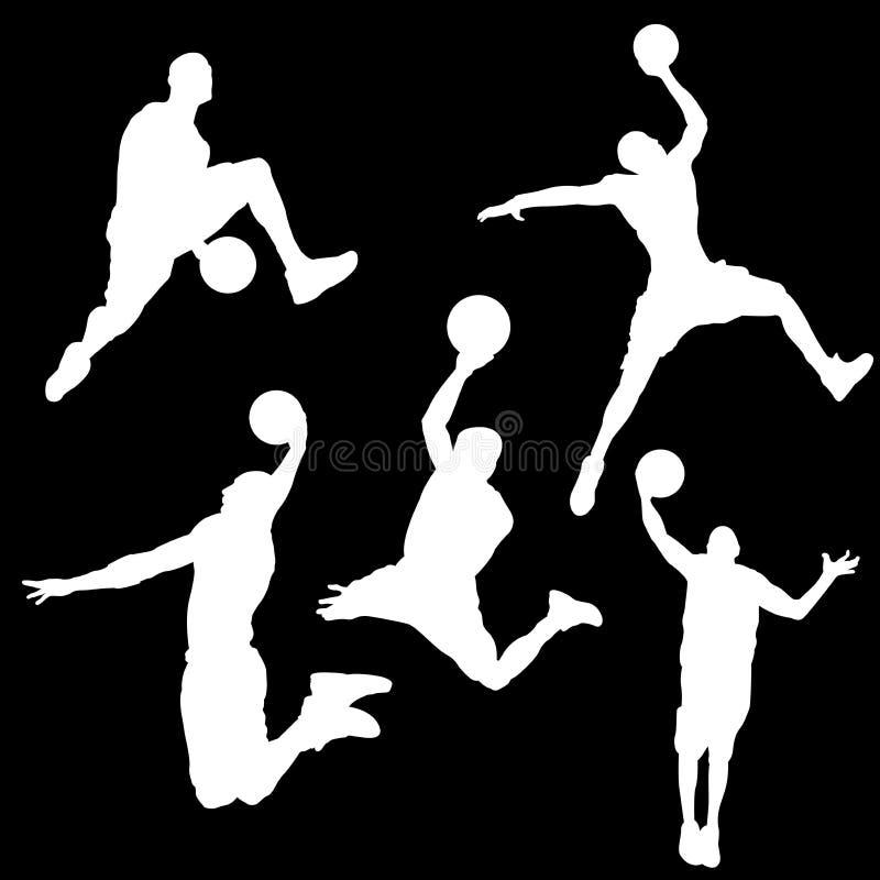Siluette bianche di un giocatore di pallacanestro su un fondo nero illustrazione vettoriale