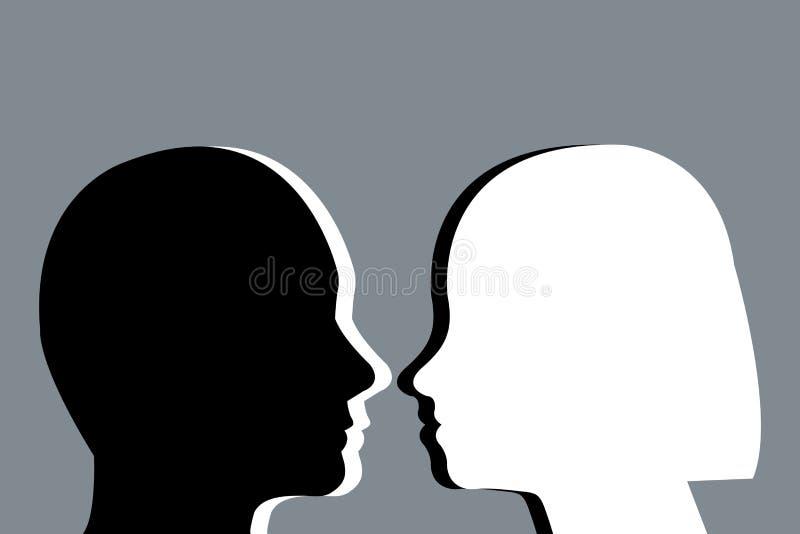 Siluette cape in bianco e nero dell'uomini e donne contro ciascuno illustrazione di stock