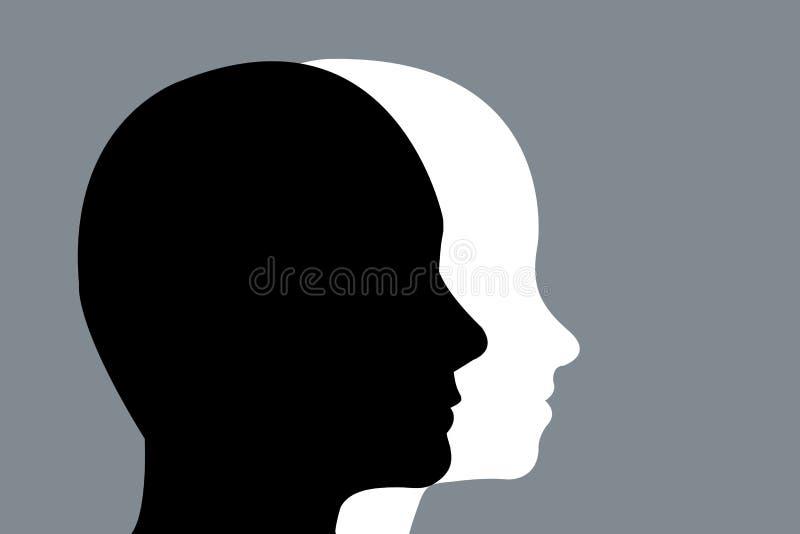 Siluette cape dell'uomini e donne su un fondo grigio illustrazione di stock