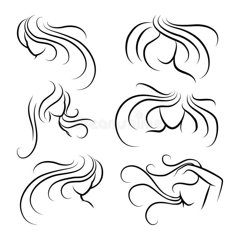 Siluette cape della donna con capelli lunghi illustrazione vettoriale