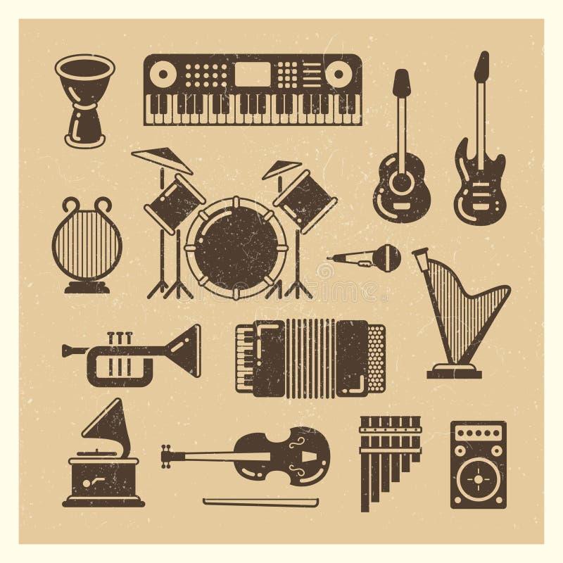 Siluette classiche di lerciume degli strumenti di musica messe illustrazione di stock