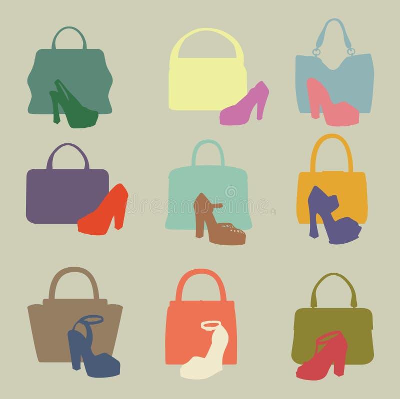 Siluette colorate della borsa delle donne di modo, scarpa a tacco alto illustrazione di stock