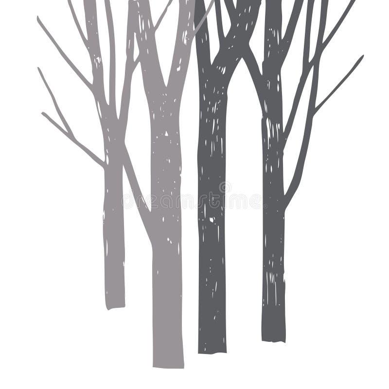 Siluette degli alberi illustrazione di stock