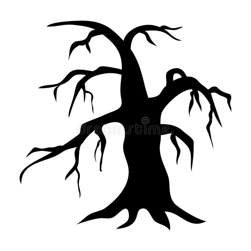 Siluette degli alberi nudi Illustrazione di vettore Albero nero e w illustrazione di stock