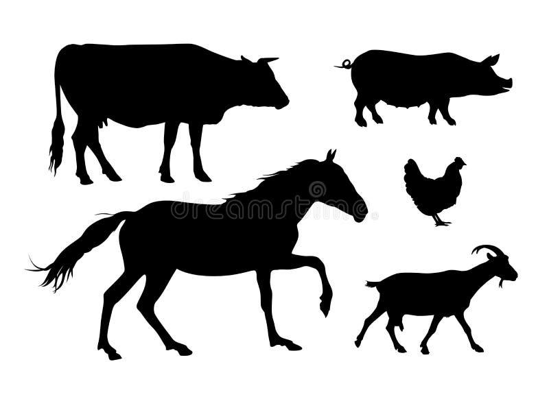 Siluette degli animali da allevamento: mucca, cavallo, maiale, gallina, capra illustrazione di stock
