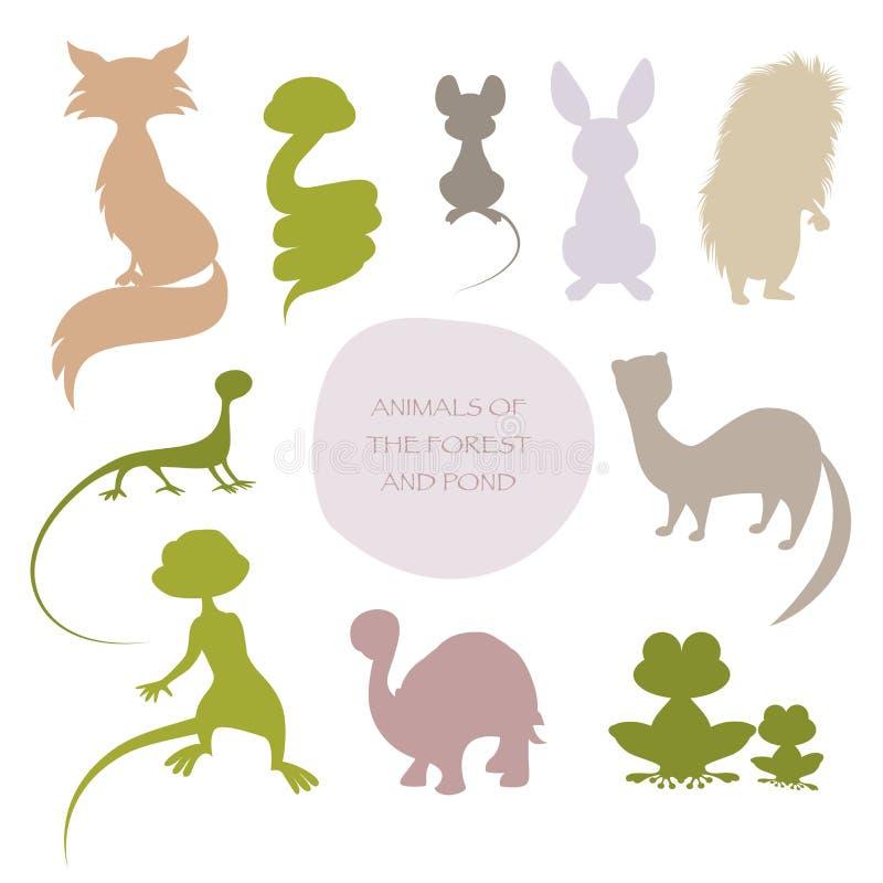Siluette degli animali della foresta e dello stagno, isolati su bianco illustrazione di stock