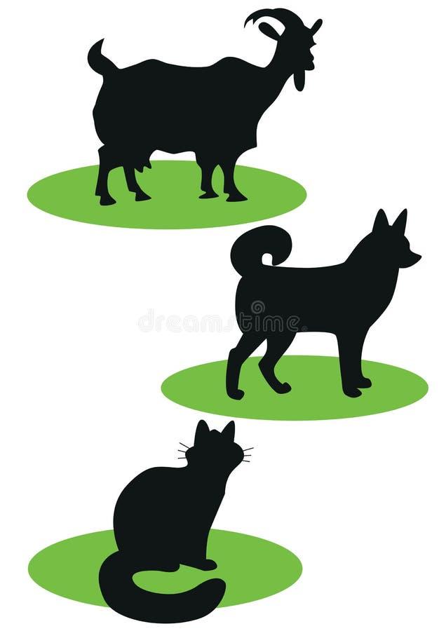 Siluette degli animali domestici immagine stock libera da diritti