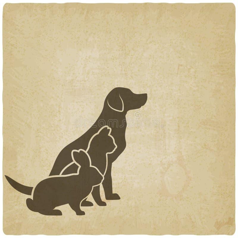 Siluette degli animali domestici cane, gatto e coniglio logo del deposito dell'animale domestico o della clinica veterinaria illustrazione vettoriale